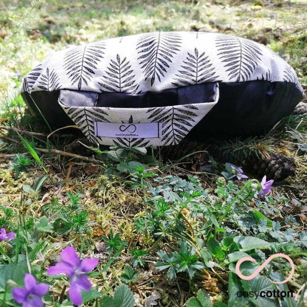 Coussin de méditation yoga - demi-lune - feuilles noires - Cosy Cotton