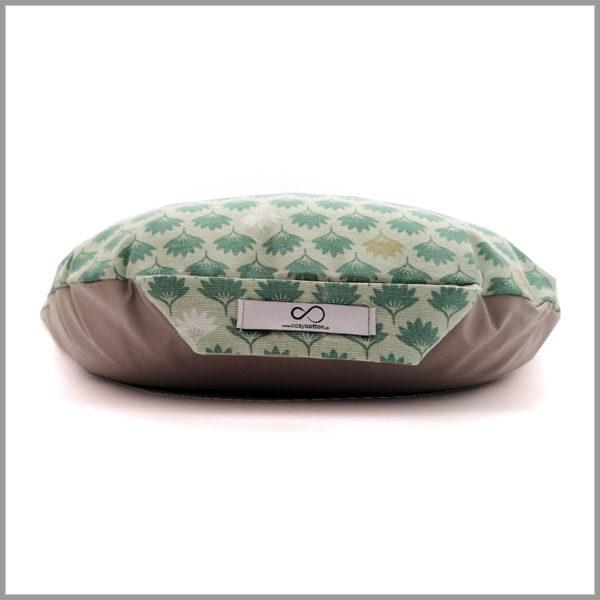 Coussin de méditation yoga - demi-lune - feuilles vert pastel