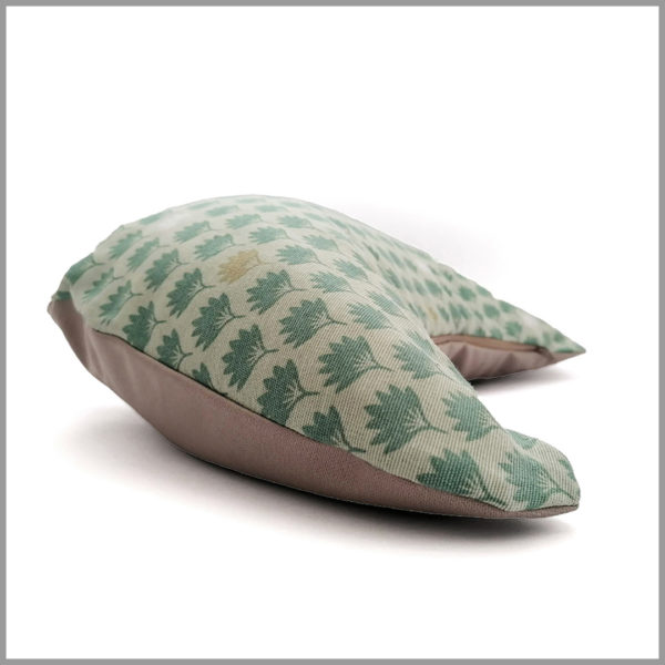 Coussin de méditation yoga - demi-lune - feuilles vert pastel - Cosy Cotton