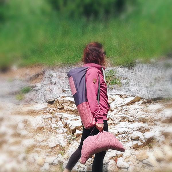 Coussin de méditation - demi-lune - bordeaux rose