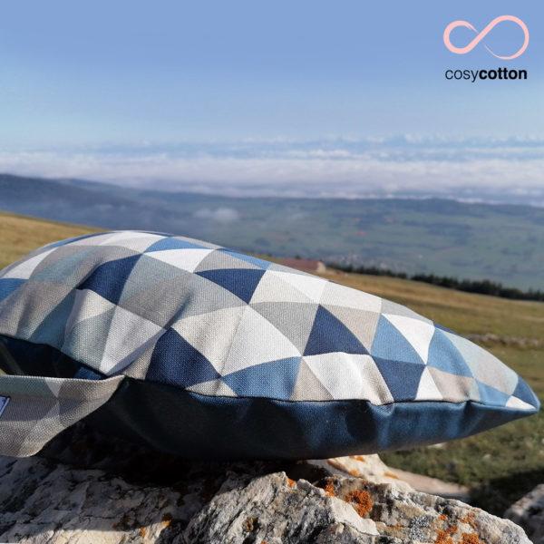 Coussin de méditation yoga - demi-lune - bleu - Cosy Cotton
